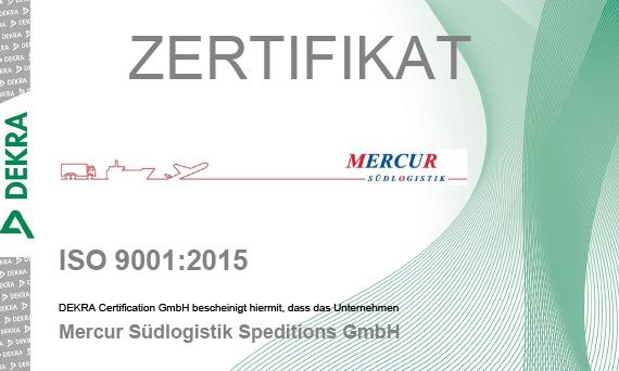 ISO 9001:2015 Zertifizierung - Mercur Südlogistik Gmbh Mannheim